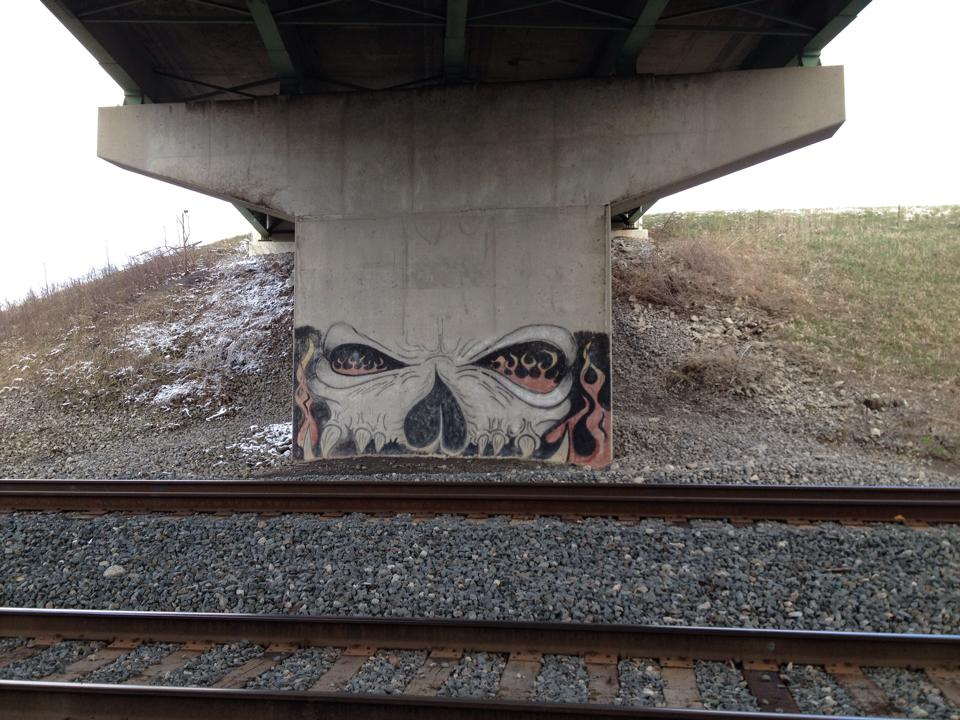 Graffiti incorporated into the substructure of a bridge in Ohio.