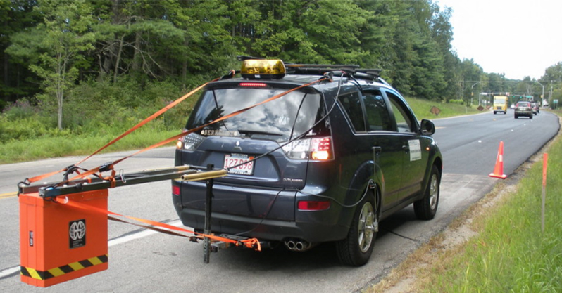 New pavement was scanned using vehicle-mounted GPR.