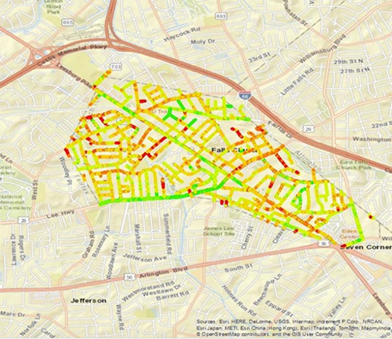 Falls Church Virginia Map.Gpr Evaluation Of Pavement Network Located In Falls Church Virginia