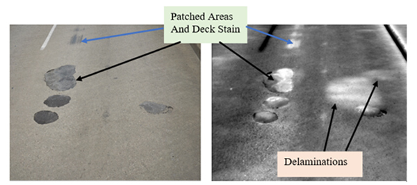 High Resolution Video (left) and Infrared (right) comparison showing subsurface delamination